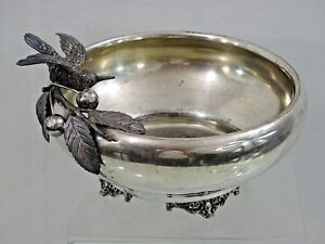 Antique American Silver Plated Fruit Bowl Figural Bird Cherry Fine Quality 1870s