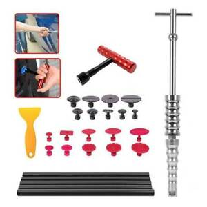 Auto Body Paintless Dent Removal Tools T bar Slide Hammer Glue Puller Tabs Kit