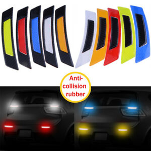 2pcs Carbon Fiber Safety Reflective Strips Warning Tape Car Reflective Stickers