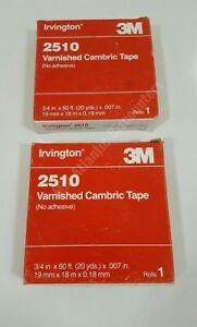 2 Rolls Irvington 3m 2510 Varnished Cambric Tape Electrical 3 4 X 60 X 007
