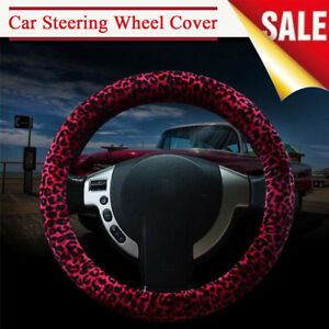 Leopard Print Car Steering Wheel Cover Protector Warm For Winter Girl Lady Woman