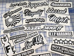 Jdm Lot Pack Of 22 Stickers Decals Molon Labe Send It Low Life Mint Rising Sun