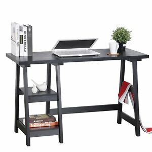 Small Writing Desk Drafting Black Compact Dorm Room Home Office Computer Laptop