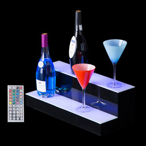 20 2 Step Tier Led Lighted Shelf Illuminated Liquor Bottle Bar Display Stand