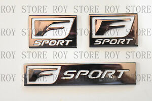 3 Lexus Chrome F Sport Logo Abs Badge Trunk Fender Marker 3d Emblem Decoration