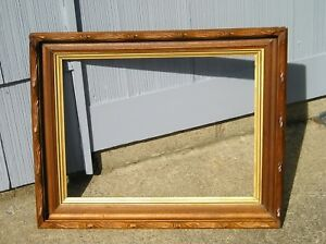Deep Antique Eastlake Victorian Rustic Edge Wood Picture Frame 15 X 20