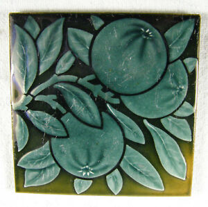 Vintage 6 Square Maw Co English Tile Peaches On Branch