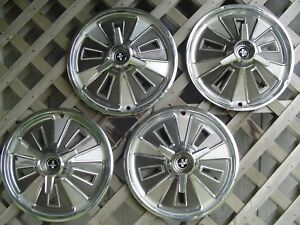 1966 66 Ford Mustang Spinner Hubcaps Wheel Covers Center Caps Antique Vintage