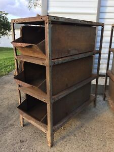 Vtg Steel Shelving Cabinet W 3 Storage Bins Metal Industrial Loft Decor Tools