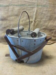 Vintage Galvanized Mop Bucket W Wooden Rollers Antique Pail Barrel 9403