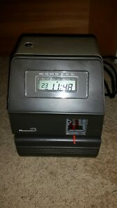 Acroprint 175 Digital Electronic Time Clock No Key Powers On Untested