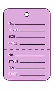 3000 Perforated Tags Price Sale 1 X 1 Two Part Purple Unstrung Tag Small