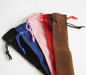 Velvet Pouch Drawstring For Pens Jewellery Black Brown Blue Red Pink Uk Sold