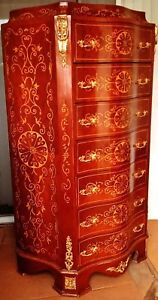 Gorgeous French Louis Style Large Chest Of Drawers Hand Painted Design