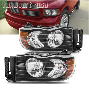 Black Housing Headlight For 2002 2005 Dodge Ram Pickup Amber Corner Lamp Pair Us