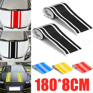180x15cm Car Vinyl Racing Body Stripe Pinstripe Hood Side Decals Stickers New