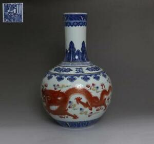 Chinese Old Blue And White Porcelain Dragon Vase With Qianlong Marked 36cm 512