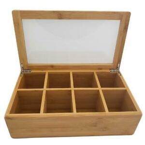 Bamboo Coffee Tea Box Condiment Display Organizer Case 8 Sections Btb