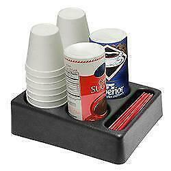 Coffee Creamer Cups Stir Sticks Condiment Caddy Display Organizer 5 Sections Cad
