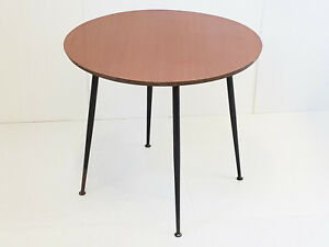 Coffee Table Round To Appont Formica Steel 1950 1960 Vintage 50s 50 S 60s 60 S