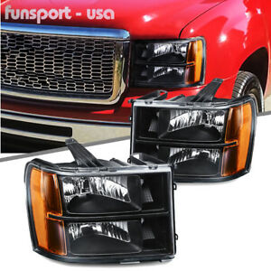 Black For 2007 2013 Gmc Sierra 1500 2500 3500 Headlights Headlamps Leftright Us Fits More Than One Vehicle
