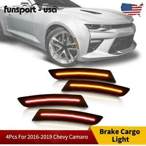 4pcs For 2016 2019 Chevy Camaro Smoked Led Side Marker Lights Front