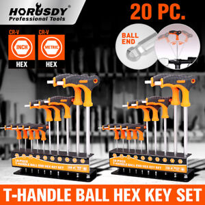 Ball End Hex Key Allen Wrench Set T Handle Long Arm Sae Metric Storage Stand