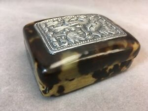 Antique Faux Tortoise Shell Celluloid Trinket Box With Silver Metal Flora Plaque