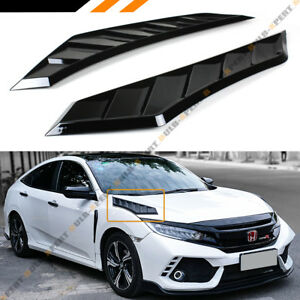 For 2016 19 Honda Civic Glossy Black Jdm Hood Bonnet Long Side Louver Vent Decor