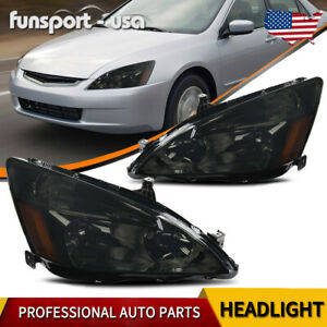 For 2003 2007 Honda Accord 2 4dr Replacement Smoke Headlights Amber Signal Lamps