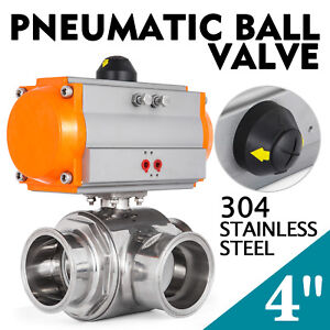 4 Three Way T port Pneumatic Ball Valve Tri clamp Steam Stainless Brewery