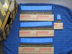 Lot 100 Vtg Nos 1963 Stackpole 470k 1w 5 Carbon Composition Comp Resistors Usa