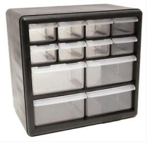 Homak Toolboxes Organizer With 12 Compartment Drawers Plastic Clear Black Ea