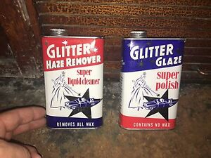 2 Vintage Tin Cans   1950's Car Wax GLitter Polish  57 Chevy.  Patriotic colors.