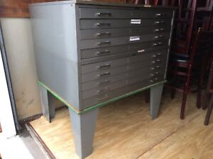 10 Drawer Flat File Blueprint Cabinet With Base 46 1 2 W