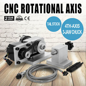 New Cnc Router Rotational Rotary Axis A axis 4th axis 3 jaw And Tail Stock