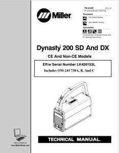 Miller Dynasty 200 Sd Dx Effective With Lk450153l Service Manual