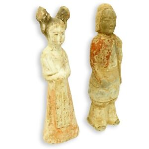 Two Chinese Tang 618 906 Ad Qi 550 577 Ad Dynasty Painted Pottery Figures