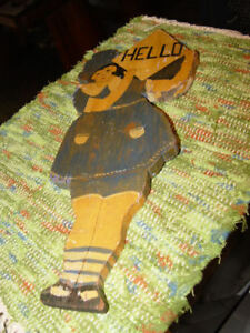 Rare Wooden Folk Art 1930s Welcome To The Cabin Lake House Hello Greeting Sign