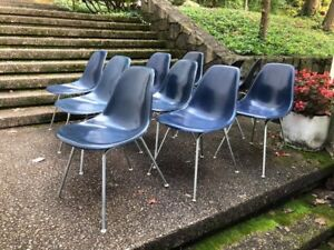 Set Of 8 Navy Blue Eames Herman Miller Side Shell Chairs Fiberglass Narrow Mt