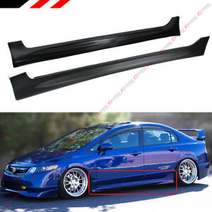 For 2006 2011 Honda Civic 4 Door Sedan Mug Rr Style Side Skirt Extension Panel