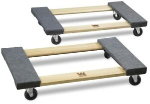 Wen Hardwood Mover Dolly Furniture Appliance 1000 Lbs Capacity 18 X 30 In 2 Pack