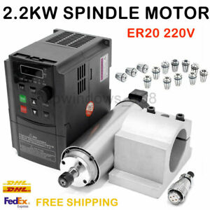 2 2kw Cnc Spindle Motor Air cooled 220v vfd Inverter er20 Collet mount Bracket