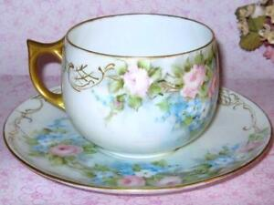 Rosenthal Hand Painted Roses Tea Cup Saucer Artist Signed