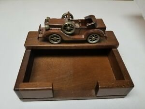 Vintage Antique Wooden Car Office desk Organizer notepad Holder 7x5x4 good Con