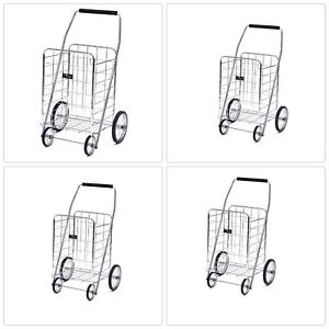Shopping Cart Wheel Steel Frame Folding Durable Heavy Duty Rust Resistant