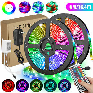 Waterproof 5M 16.4ft 300 LED RGB 3528 SMD Strip Light Flexible 12V+Remote+Power $14.97