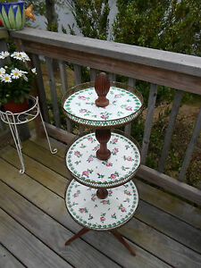 Rare French 3 Tier Table Limoges Porcelain Roses Louis Xvi Or Belle Epoque