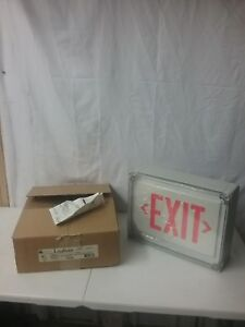 New Lifeforms Dual lite Type 4x White W red Letter Led Exit Sign Ln4xrw