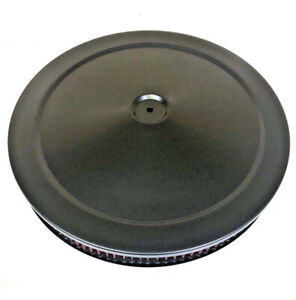 14 X 2 Black Round Air Cleaner Flat Base Washable Filter Chevy Ford